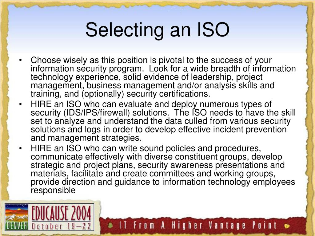 Selecting an ISO