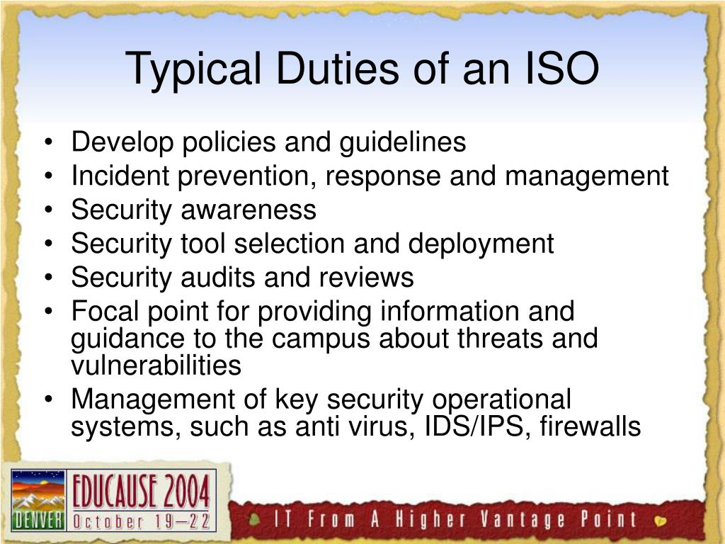 Typical Duties of an ISO