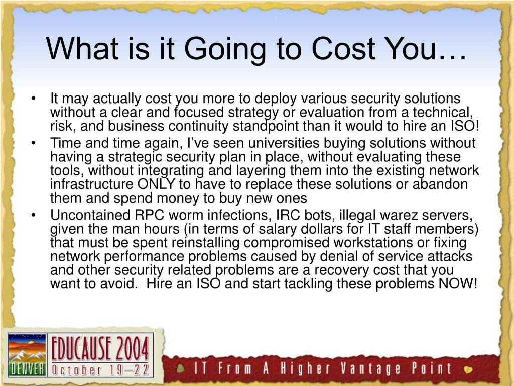 What is it Going to Cost You…