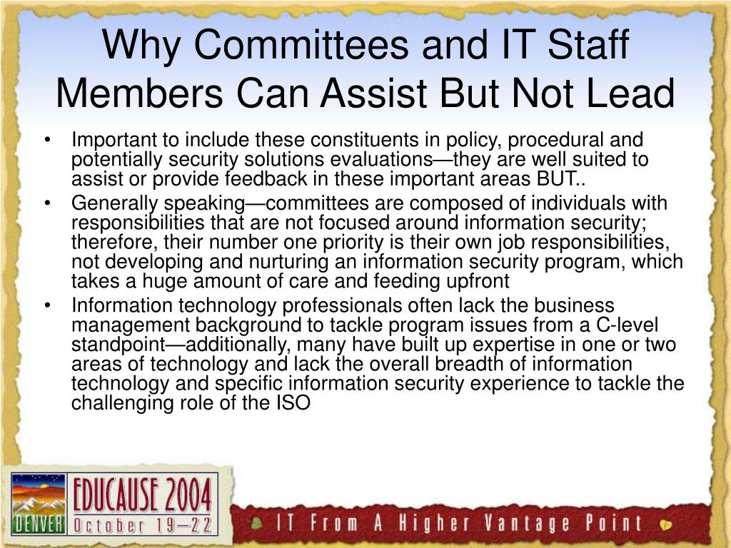 Why Committees and IT Staff Members Can Assist But Not Lead