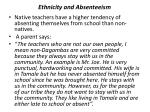 ethnicity and absenteeism