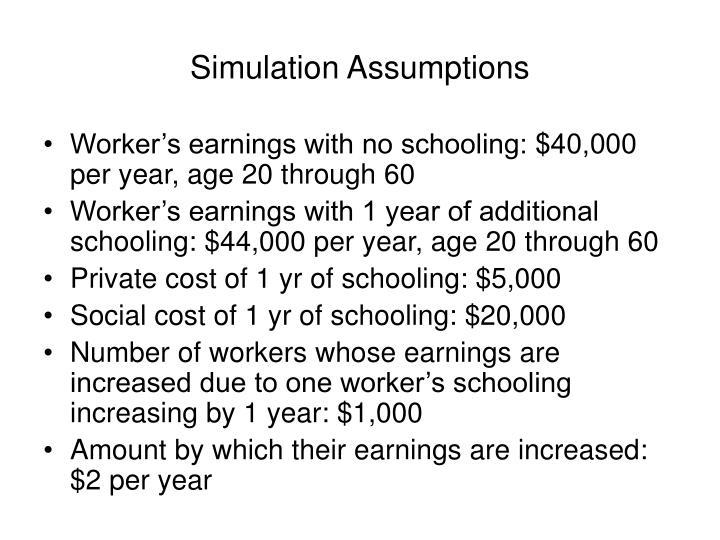 Simulation Assumptions