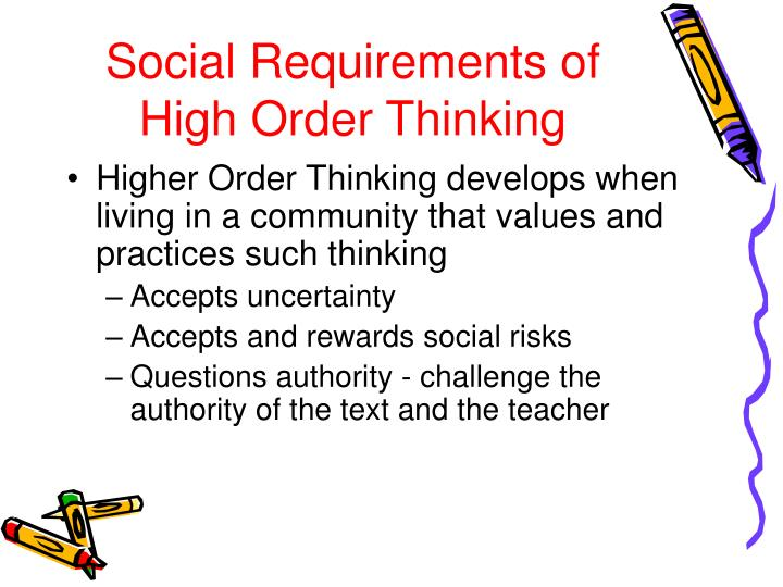 Social Requirements of High Order Thinking
