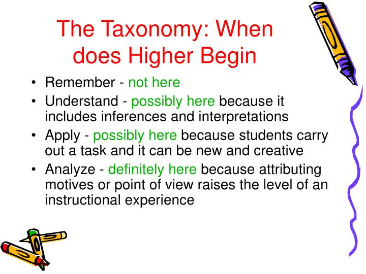 The Taxonomy: When does Higher Begin