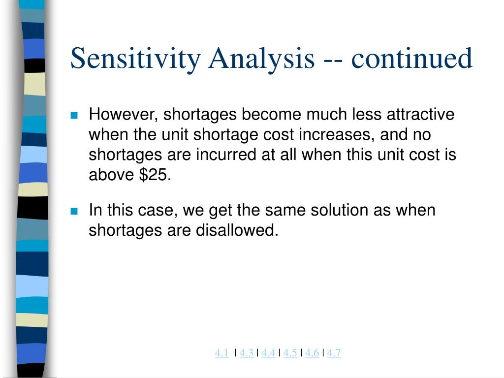 Sensitivity Analysis -- continued