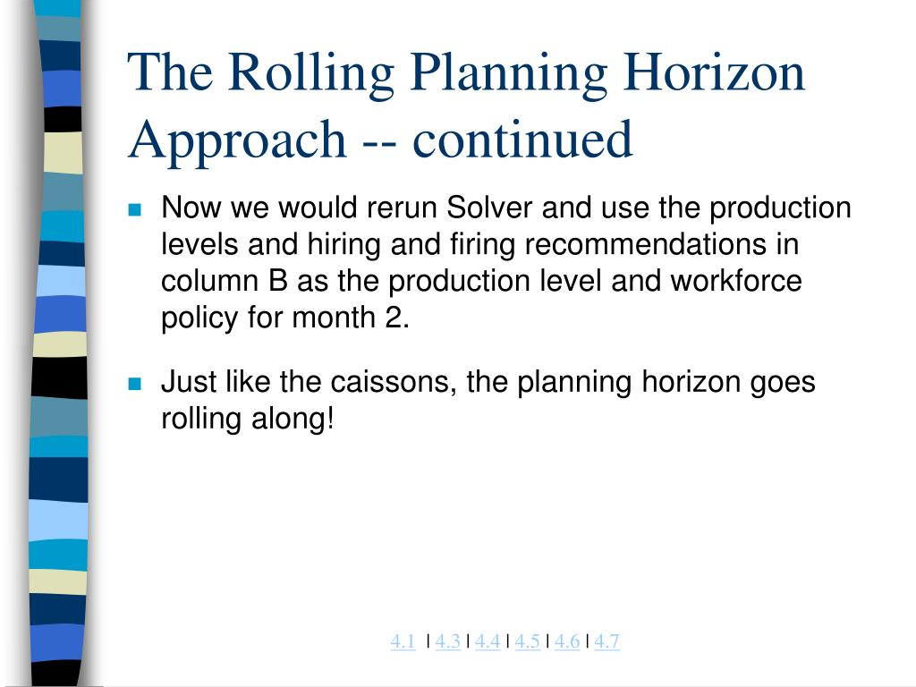 The Rolling Planning Horizon Approach -- continued