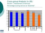 cross group analysis n 39 section 1 assessment of services percentage scoring service as essential