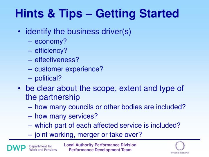 Hints tips getting started3