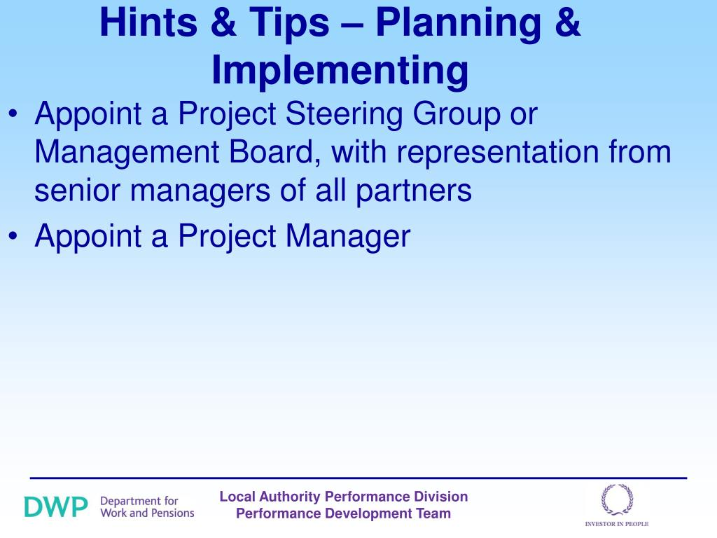 Hints & Tips – Planning & Implementing