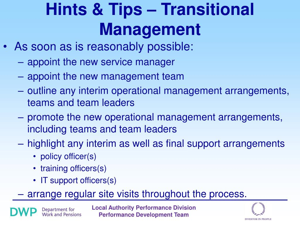 Hints & Tips – Transitional Management