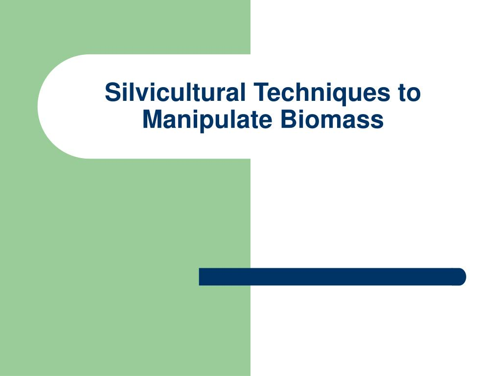 silvicultural techniques to manipulate biomass l.