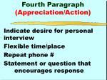 fourth paragraph appreciation action