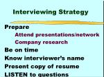 interviewing strategy