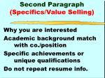 second paragraph specifics value selling