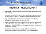 thorpex overview part i