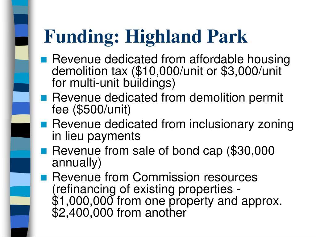 Funding: Highland Park