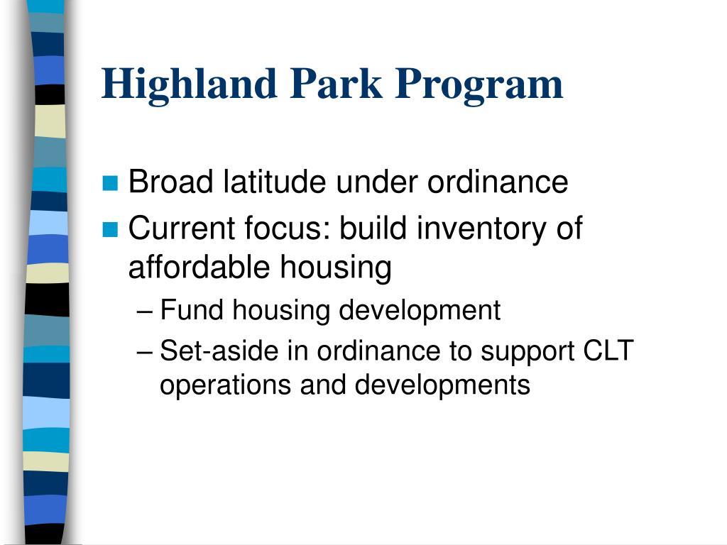 Highland Park Program