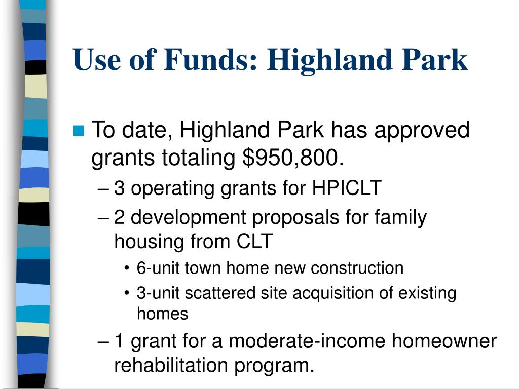 Use of Funds: Highland Park