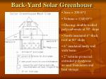 back yard solar greenhouse