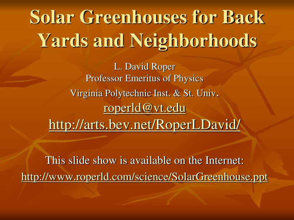 solar greenhouses for back yards and neighborhoods l.