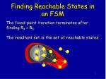 finding reachable states in an fsm9