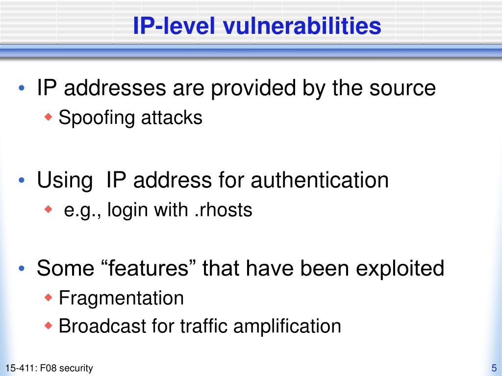 IP-level vulnerabilities