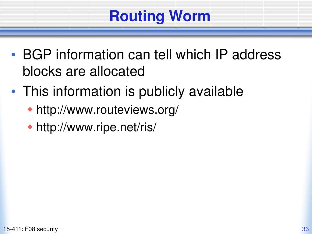 Routing Worm