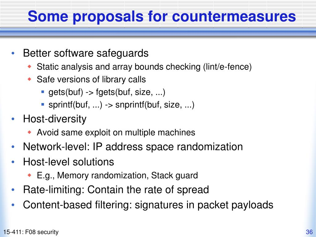 Some proposals for countermeasures