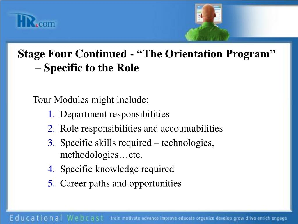"""Stage Four Continued - """"The Orientation Program"""" – Specific to the Role"""