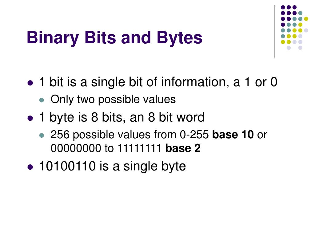 Binary Bits and Bytes