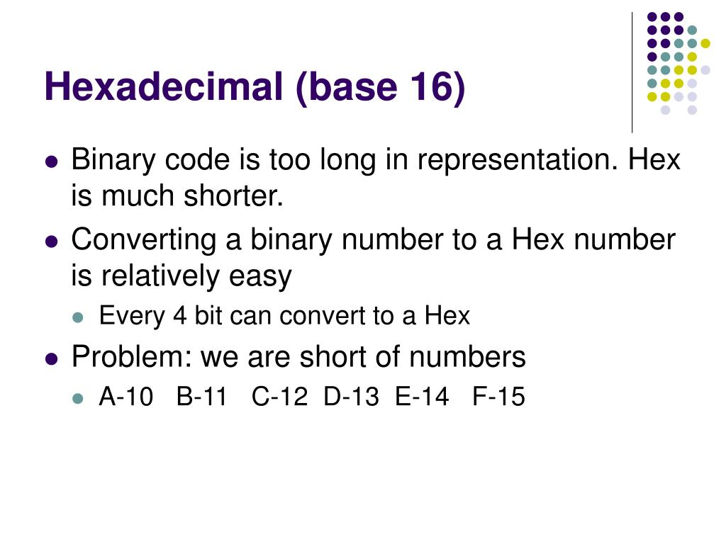 Hexadecimal (base 16)