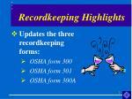 recordkeeping highlights