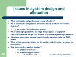 issues in system design and allocation