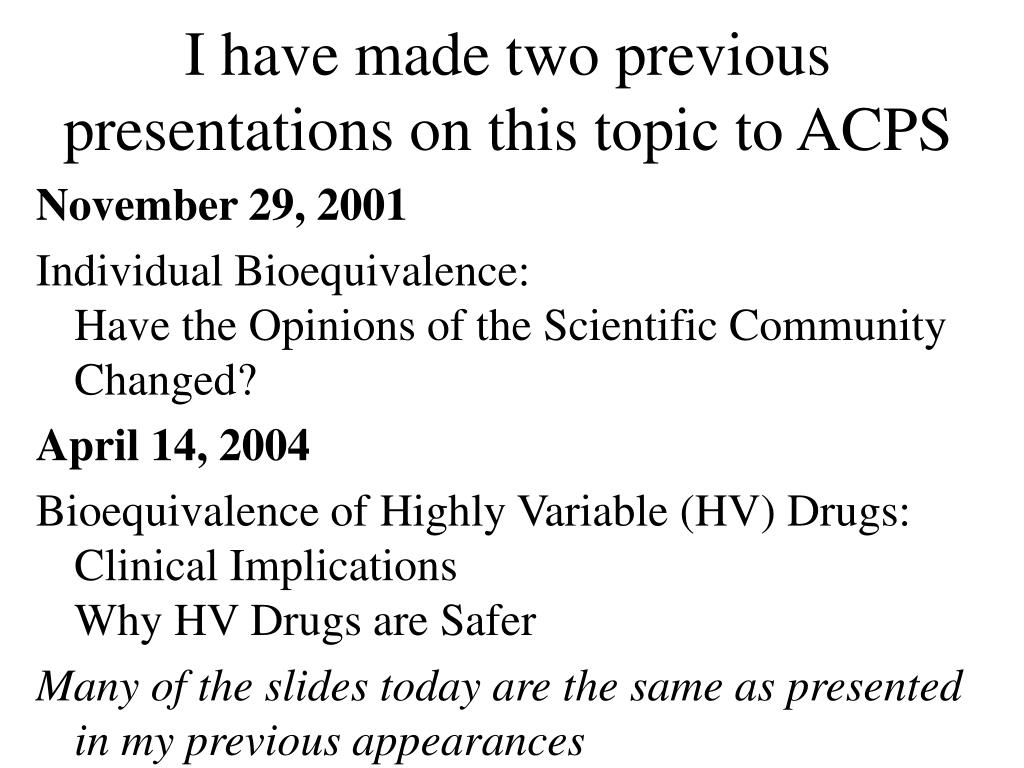 I have made two previous presentations on this topic to ACPS