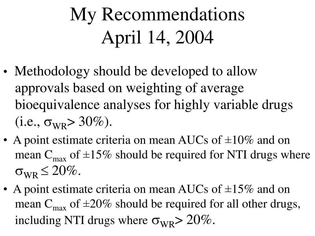 My Recommendations           April 14, 2004