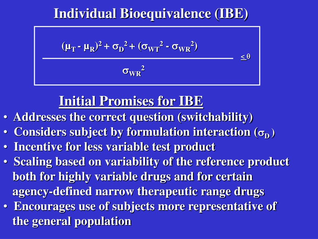 Individual Bioequivalence (IBE)