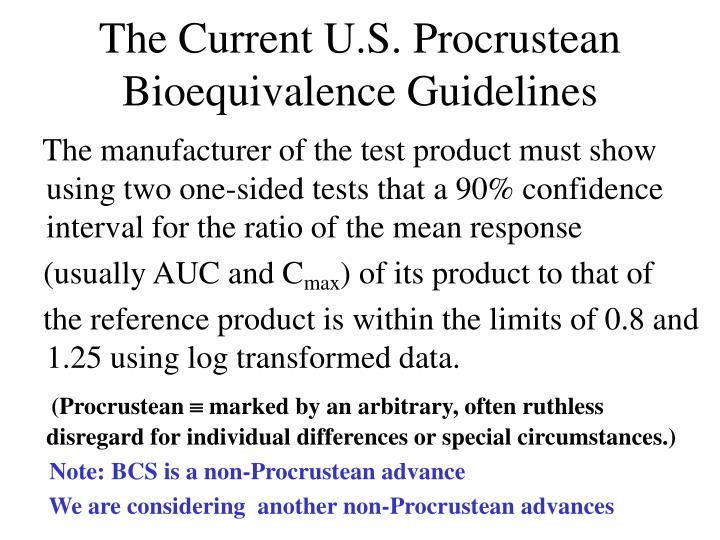 The current u s procrustean bioequivalence guidelines