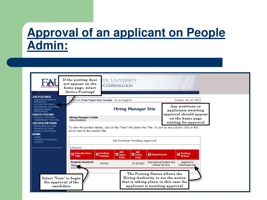 Approval of an applicant on People Admin: