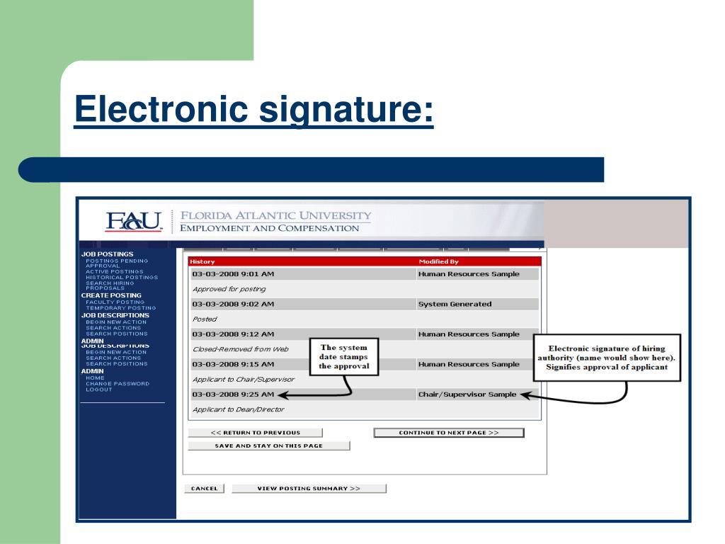 Electronic signature: