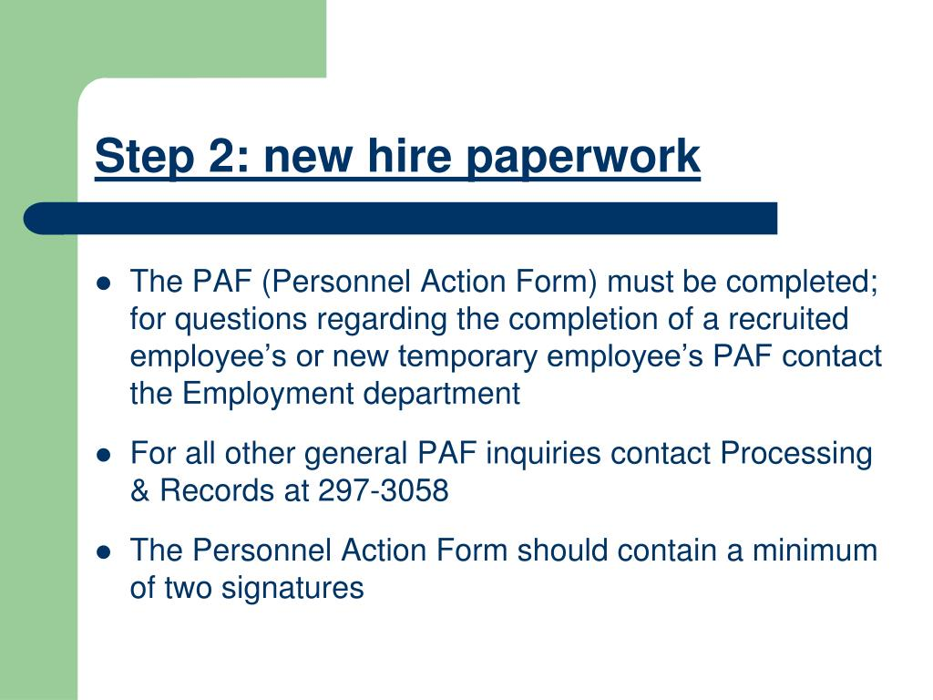 Step 2: new hire paperwork