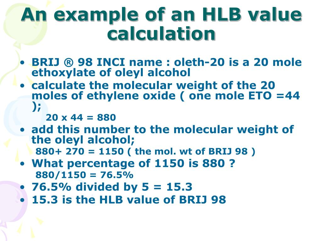 An example of an HLB value calculation