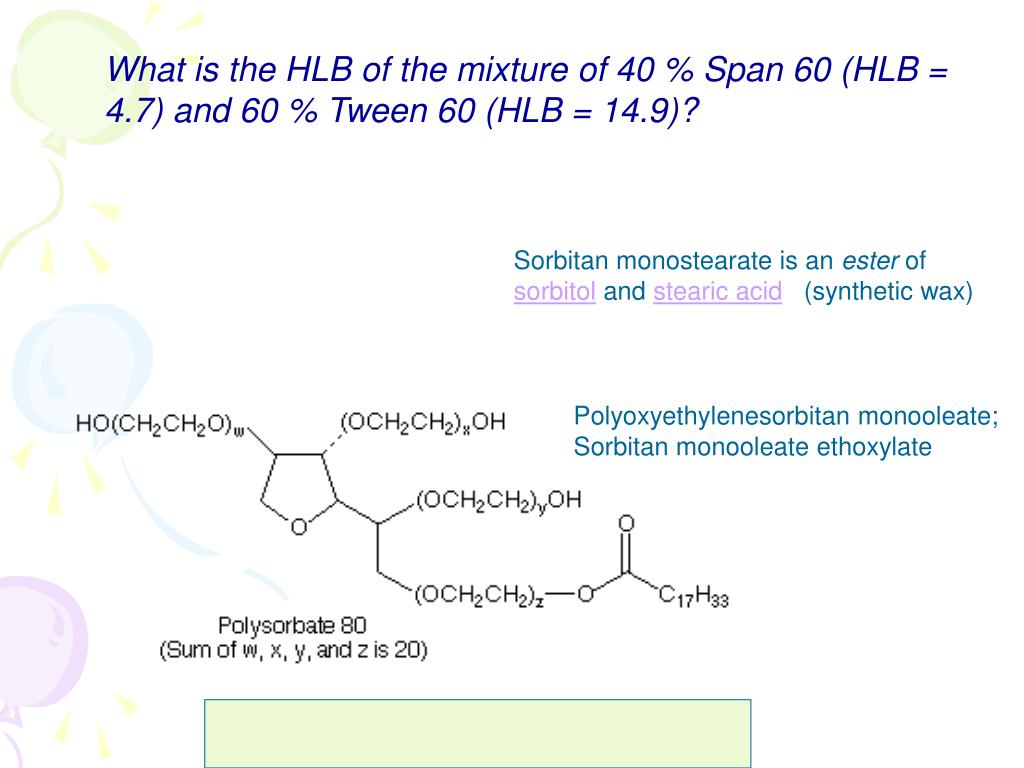 What is the HLB of the mixture of 40 % Span 60 (HLB = 4.7) and 60 % Tween 60 (HLB = 14.9)?