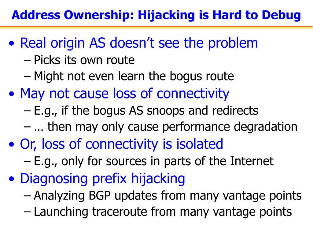 Address Ownership: Hijacking is Hard to Debug