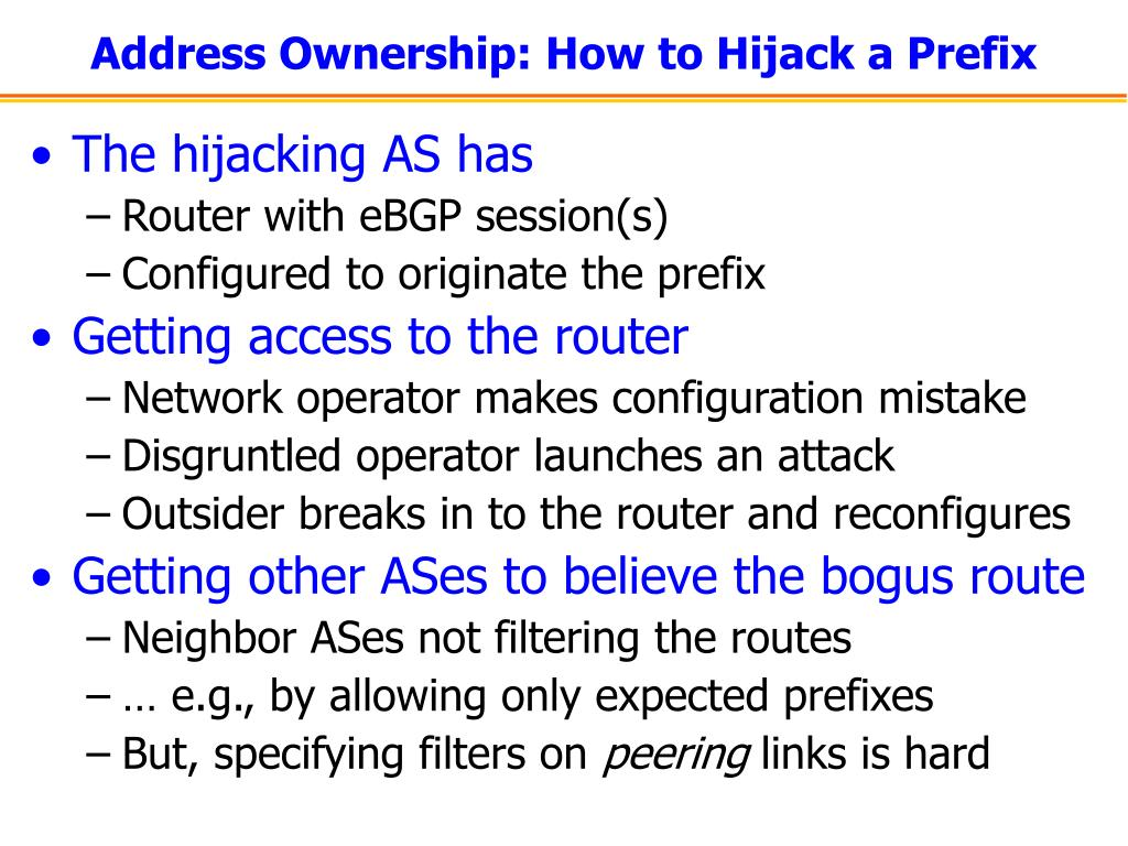 Address Ownership: How to Hijack a Prefix