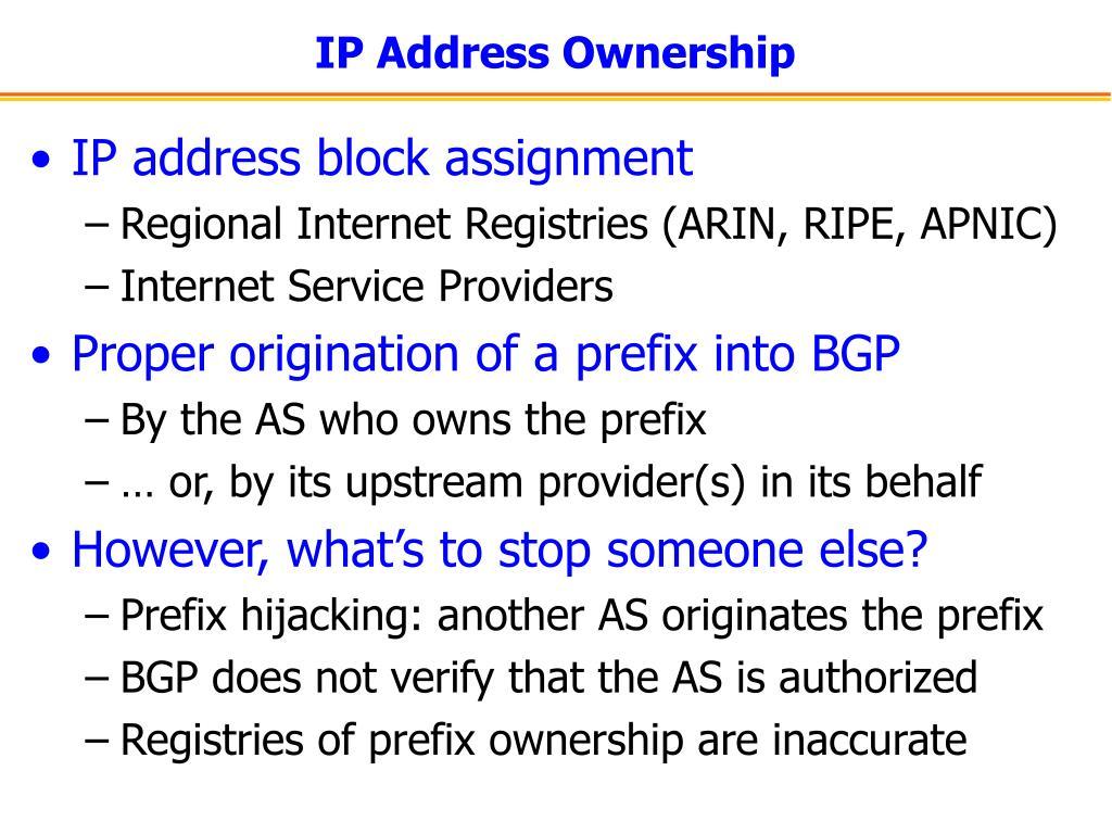 IP Address Ownership