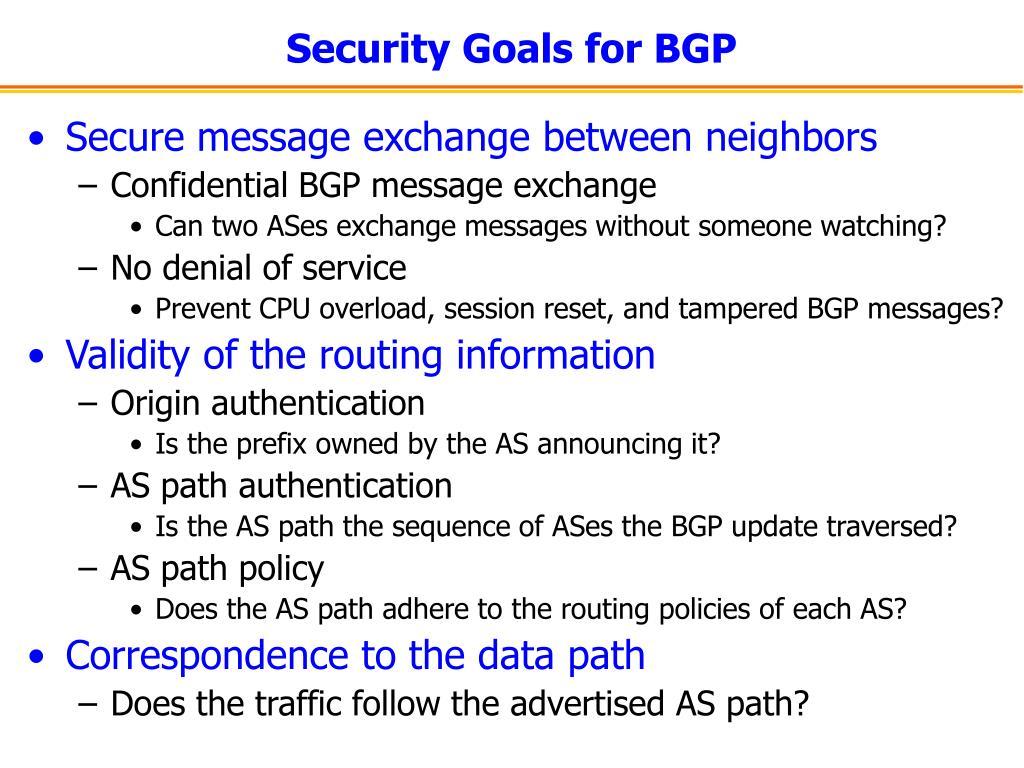 Security Goals for BGP