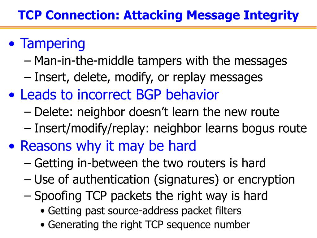 TCP Connection: Attacking Message Integrity