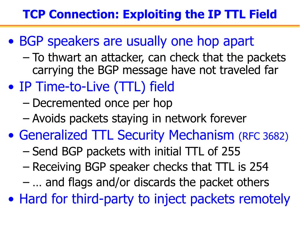 TCP Connection: Exploiting the IP TTL Field