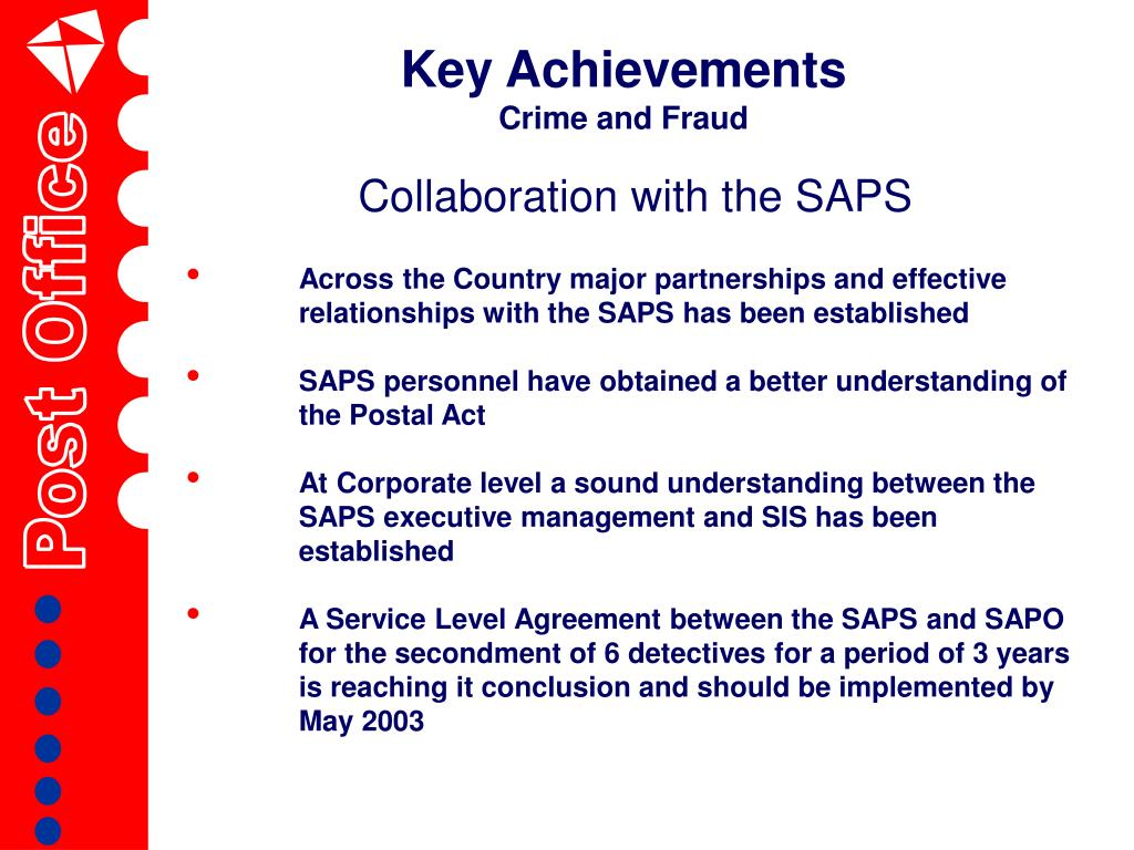 Collaboration with the SAPS