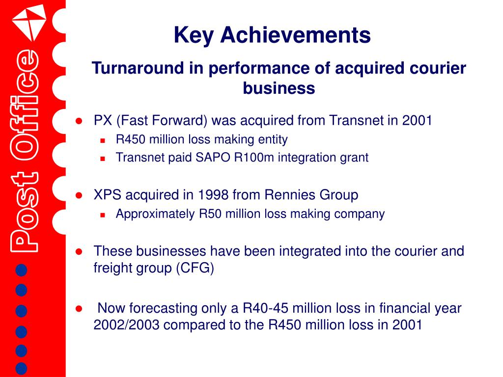 Turnaround in performance of acquired courier business